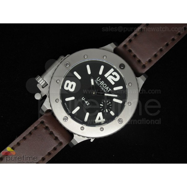 Cheap Discount Replica U42 SS Black Dial White Mark on Brown Leather Strap 52mm A6497