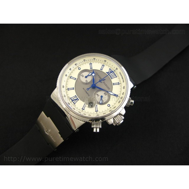 Cheap Discount Replica Marine Chronograph SS White Dial Blue Roman Markers