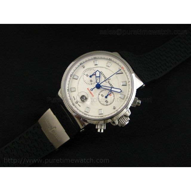 Cheap Discount Replica Marine Chronograph SS White Dial Stick Markers