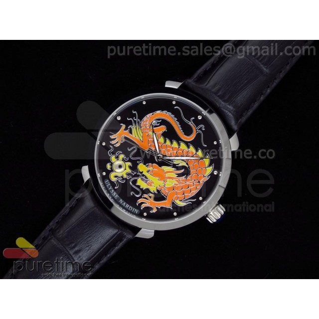 Cheap Discount Replica Kremlin Set Classico Dragon SS Black Dial on Black Leather Strap A21J