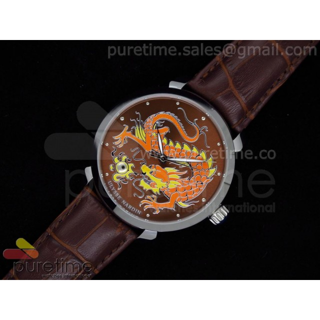 Cheap Discount Replica Kremlin Set Classico Dragon SS Brown Dial on Brown Leather Strap A21J