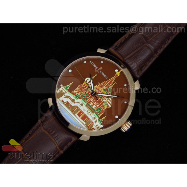 Cheap Discount Replica Kremlin Set St. Basil Red Square RG Brown Dial on Brown Leather Strap A21J