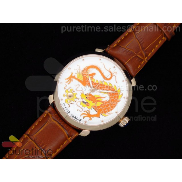 Cheap Discount Replica Kremlin Set Classico Dragon RG White Dial on Brown Leather Strap A21J
