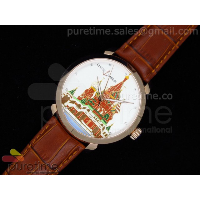Cheap Discount Replica Kremlin Set St. Basil Red Square RG White Dial on Brown Leather Strap A21J