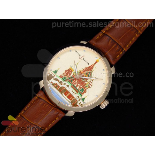 Cheap Discount Replica Kremlin Set St. Basil Red Square RG Cream Dial on Brown Leather Strap A21J
