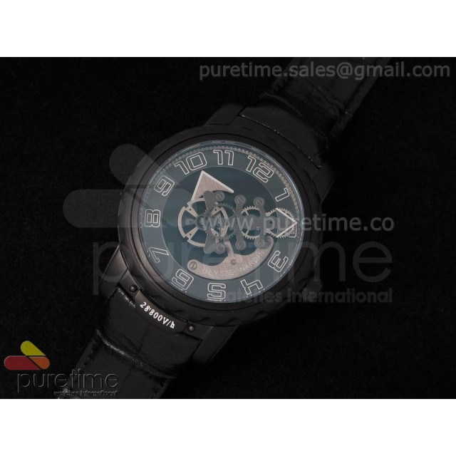 Cheap Discount Replica Freak PVD Black Dial on Black Leather Strap A21J