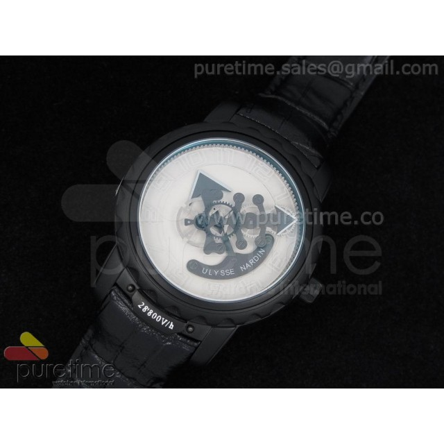 Cheap Discount Replica Freak PVD White Dial on Black Leather Strap A21J