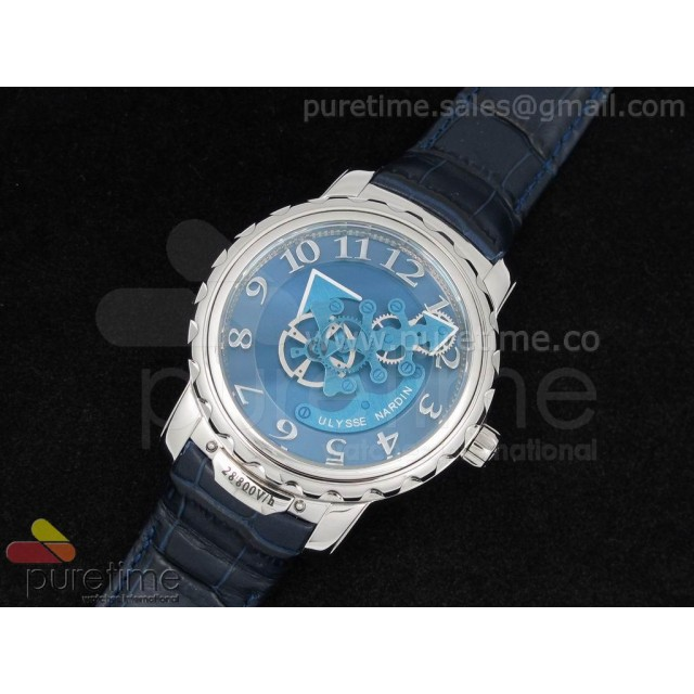 Cheap Discount Replica Freak SS Blue Dial on Deep Blue Leather Strap A21J