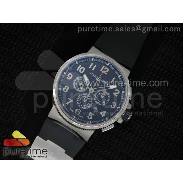 Cheap Discount Replica Marine Chrono 44mm SS Black Dial Arabic Markers on Black Rubber Strap A7750