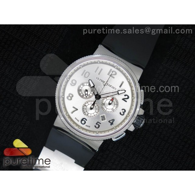 Cheap Discount Replica Marine Chrono 44mm SS Silver Dial Arabic Markers on Black Rubber Strap A7750