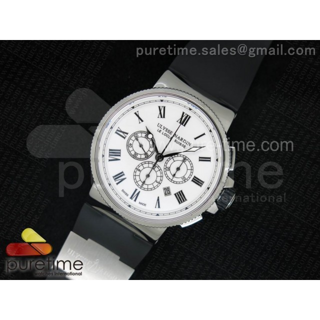 Cheap Discount Replica Marine Chrono 44mm SS Silver Dial Roman Markers on Black Rubber Strap A7750