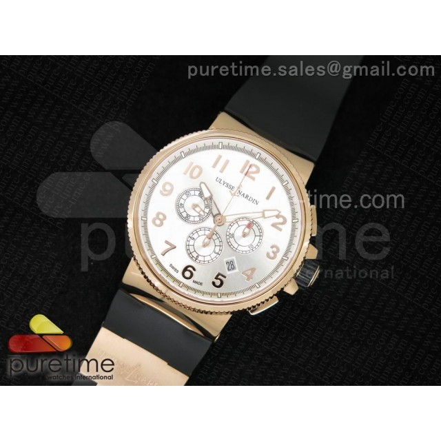 Cheap Discount Replica Marine Chrono 44mm RG Silver Dial Arabic Markers on Black Rubber Strap A7750