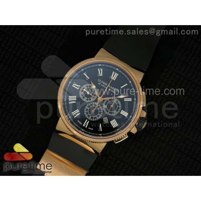 Cheap Discount Replica Marine Chrono 44mm RG Black Dial Roman Markers on Black Rubber Strap A7750