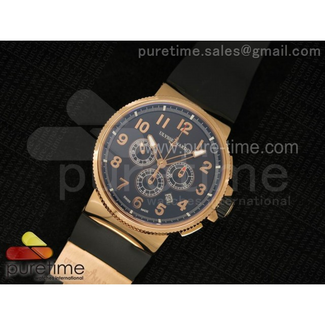 Cheap Discount Replica Marine Chrono 44mm RG Black Dial Arabic Markers on Black Rubber Strap A7750