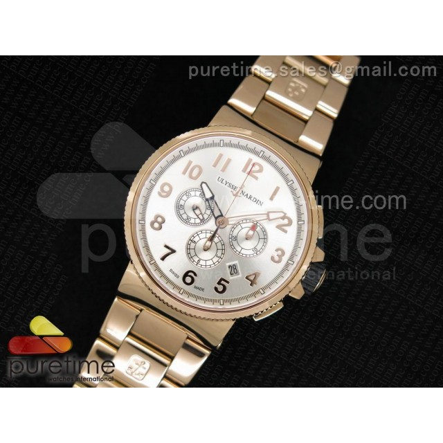 Cheap Discount Replica Marine Chrono 44mm RG Silver Dial Arabic Markers on RG Bracelet A7750