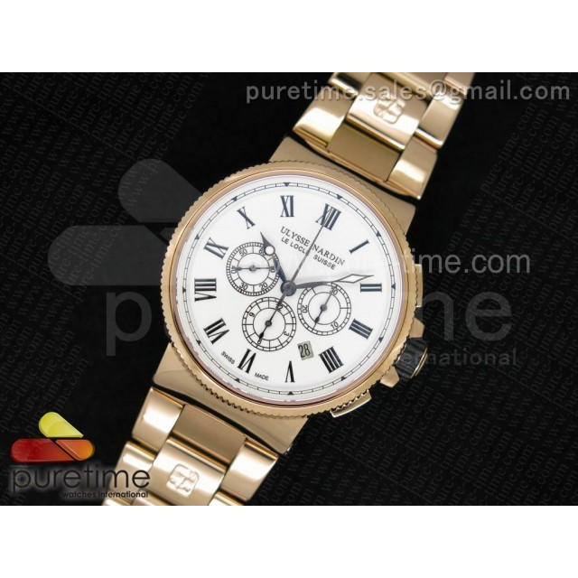 Cheap Discount Replica Marine Chrono 44mm RG Silver Dial Roman Markers on RG Bracelet A7750