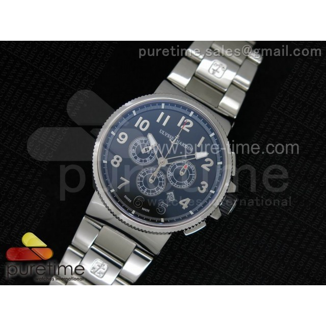 Cheap Discount Replica Marine Chrono 44mm SS Black Dial Arabic Markers on SS Bracelet A7750