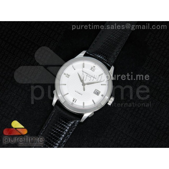 Cheap Discount Replica Patrimony Traditionnelle SS White Textured Dial on Black Snake Leather Strap MIYOTA.9015