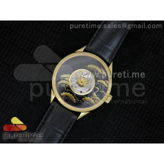 Cheap Discount Replica Metiers D'Art 40mm YG Pine Dial on Black Leather Strap A2824