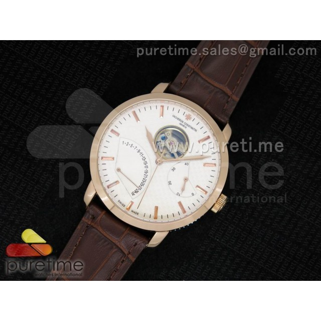 Cheap Discount Replica Patrimony Tourbillon RG White Dial on Brown Leather Strap A23J