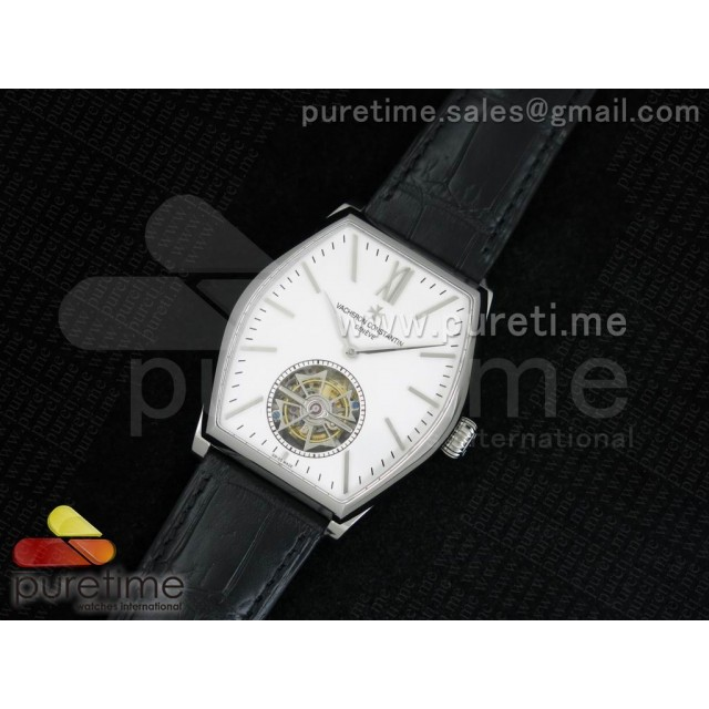 Cheap Discount Replica Malte Tourbillon SS White Dial on Black Croco Leather Strap