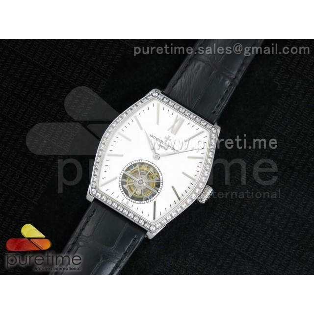 Cheap Discount Replica Malte Tourbillon SS White Dial Diamonds Bezel on Black Croco Leather Strap
