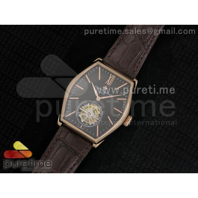 Cheap Discount Replica Malte Tourbillon RG Black Dial on Brown Croco Leather Strap