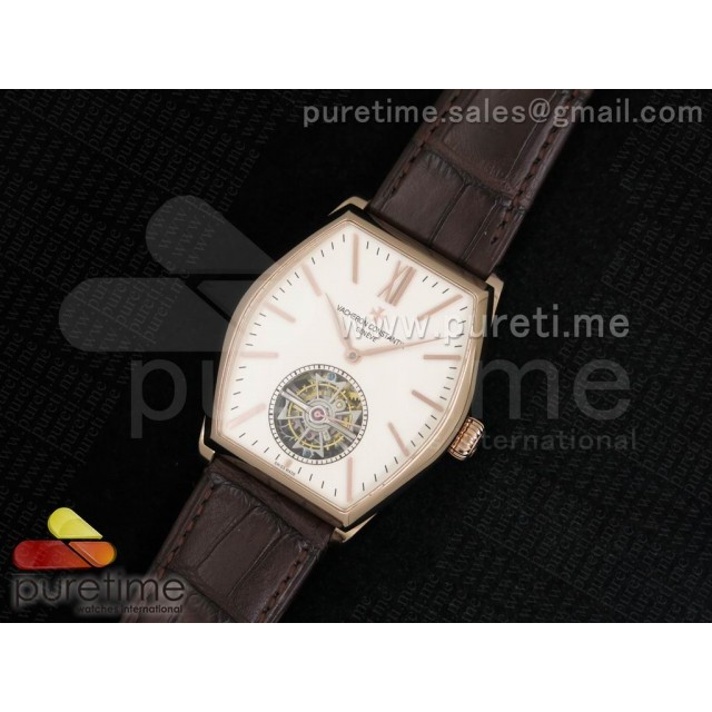 Cheap Discount Replica Malte Tourbillon RG Cream Dial on Brown Croco Leather Strap