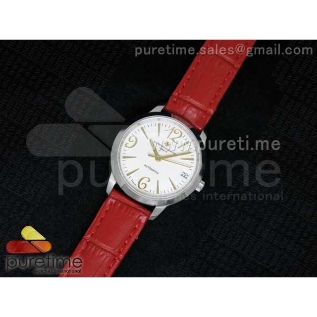 Cheap Discount Replica Patrimony Traditionnelle Lday SS White Dial on Red Leather Strap A2824