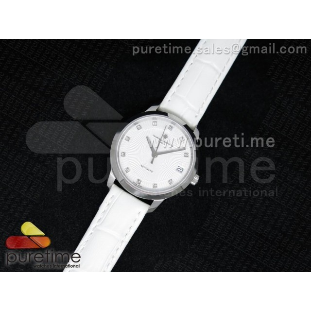 Cheap Discount Replica Patrimony Traditionnelle Lday SS White Dial on White Leather Strap A2824