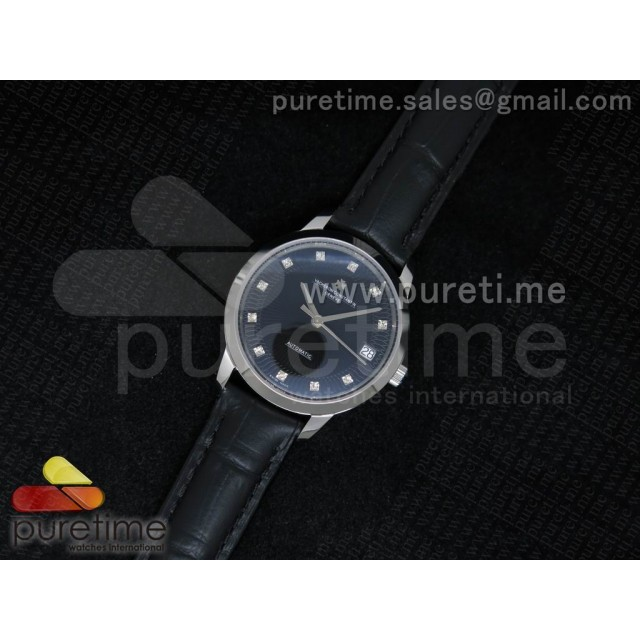 Cheap Discount Replica Patrimony Traditionnelle Lday SS Black Dial on Black Leather Strap A2824