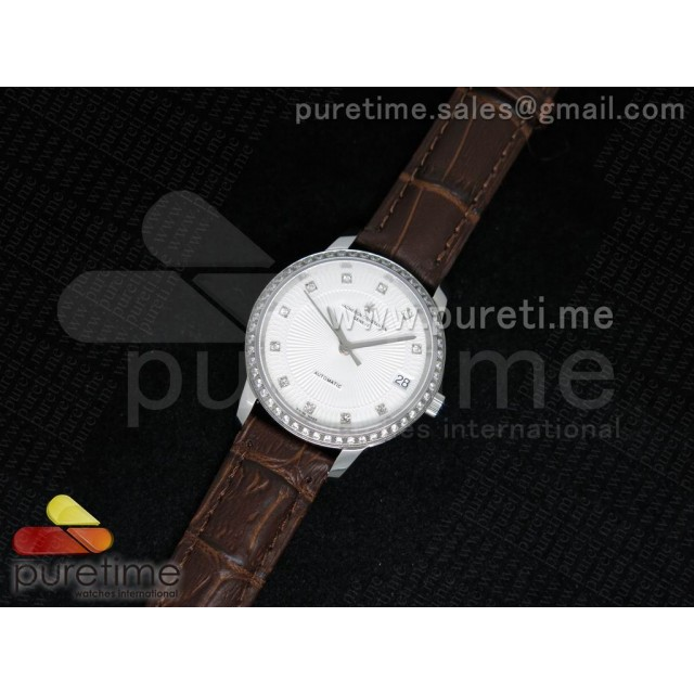 Cheap Discount Replica Patrimony Traditionnelle Lday SS White Dial Diamonds Bezel on Brown Leather Strap A2824