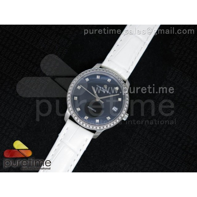 Cheap Discount Replica Patrimony Traditionnelle Lday SS Black Dial Diamonds Bezel on White Leather Strap A2824
