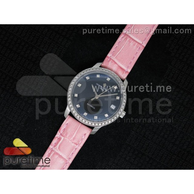 Cheap Discount Replica Patrimony Traditionnelle Lday SS Black Dial Diamonds Bezel on Pink Leather Strap A2824