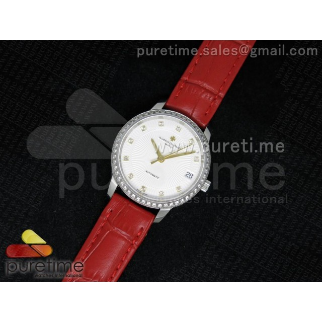 Cheap Discount Replica Patrimony Traditionnelle Lday SS White Dial YG Markers Diamonds Bezel on Red Leather Strap A2824