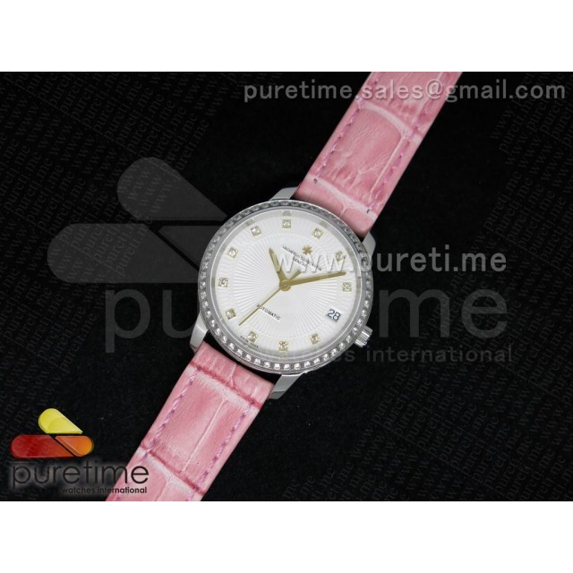 Cheap Discount Replica Patrimony Traditionnelle Lday SS White Textured Dial Diamonds Bezel on Pink Leather Strap A2824
