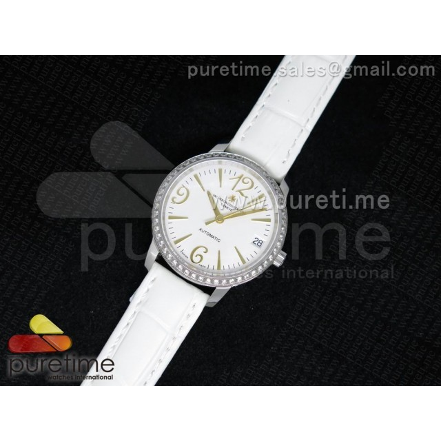 Cheap Discount Replica Patrimony Traditionnelle Lday SS White Dial Diamonds Bezel on White Leather Strap A2824