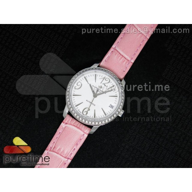 Cheap Discount Replica Patrimony Traditionnelle Lday SS White Dial Diamonds Bezel on Pink Leather Strap A2824