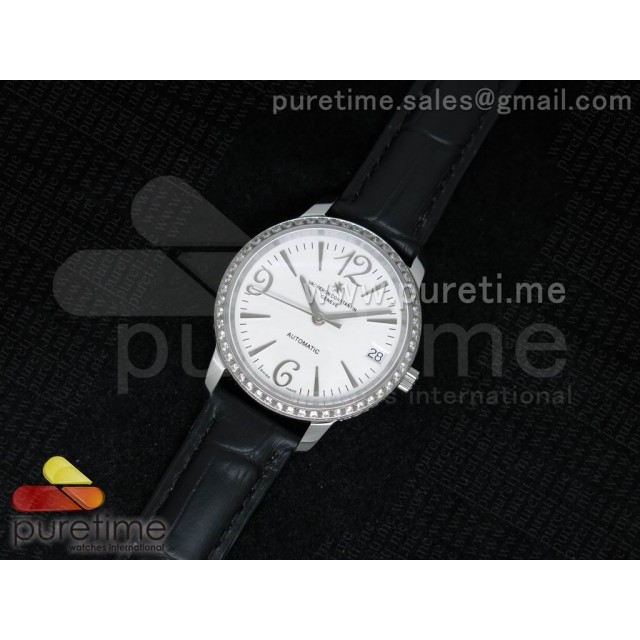 Cheap Discount Replica Patrimony Traditionnelle Lday SS White Dial Diamonds Bezel on Black Leather Strap A2824