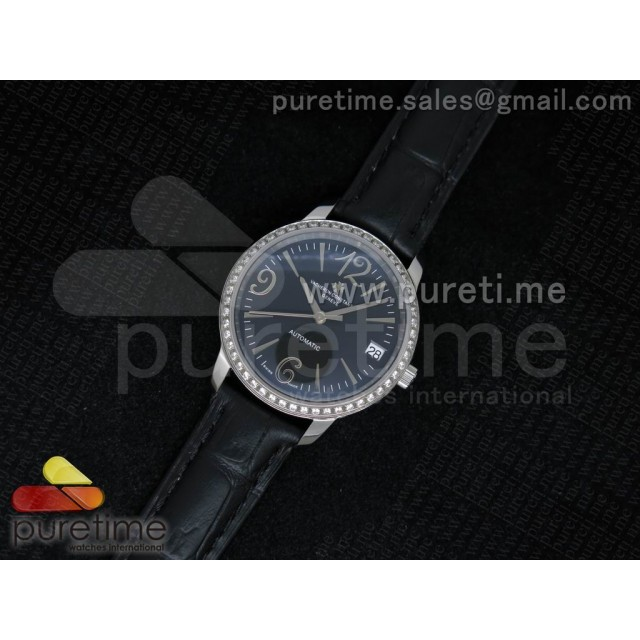 Cheap Discount Replica Patrimony Traditionnelle Lday SS Black Dial Diamonds Bezel on Black Leather Strap A2824