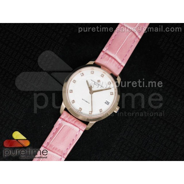 Cheap Discount Replica Patrimony Traditionnelle Lday RG White Dial on Pink Leather Strap A2824