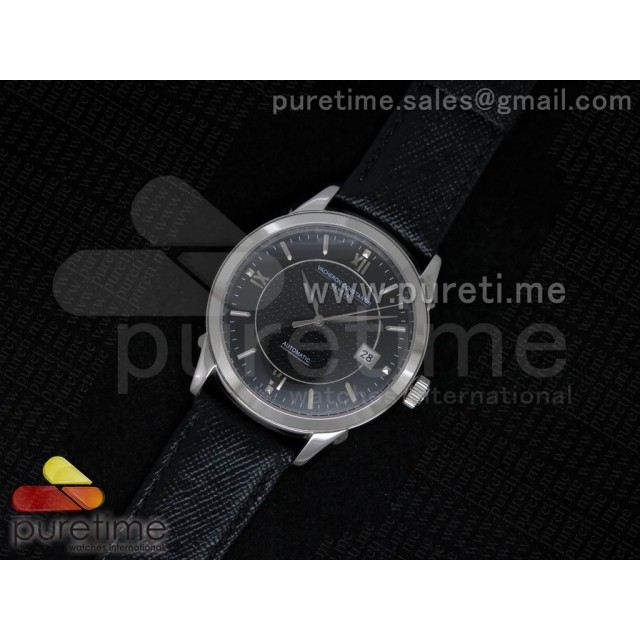 Cheap Discount Replica Patrimony 40mm SS Black Textured Dial on Black Leather Strap MIYOTA9015
