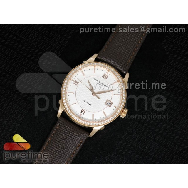 Cheap Discount Replica Patrimony 40mm RG Diamonds Bezel White Textured Dial on Brown Leather Strap MIYOTA9015