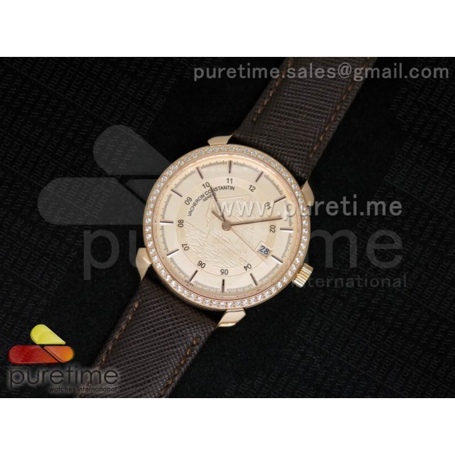 Cheap Discount Replica Patrimony 40mm RG Diamonds Bezel Champagne Sailboat Dial on Brown Leather Strap MIYOTA9015