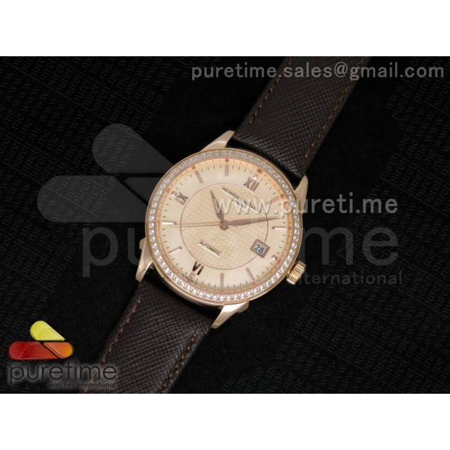 Cheap Discount Replica Patrimony 40mm RG Diamonds Bezel Champagne Textured Dial on Brown Leather Strap MIYOTA9015