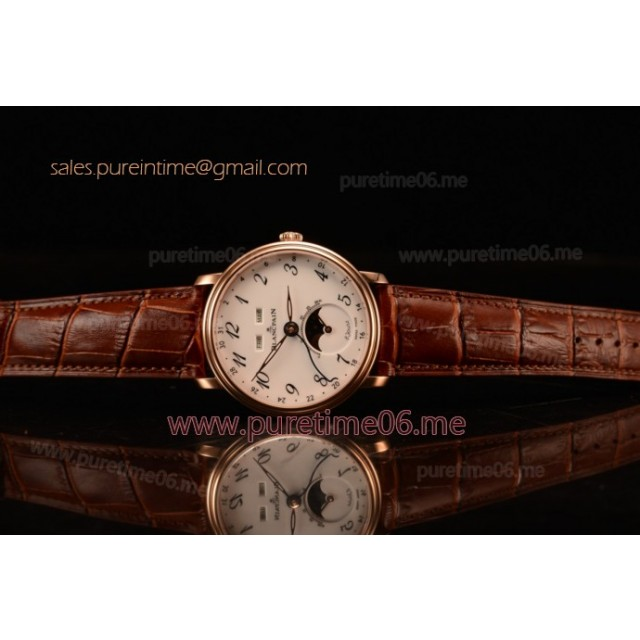 Villeret Miyota 9015 Automatic Rose Gold Case with White Dial Arabic and Brown Leather Strap (EF)