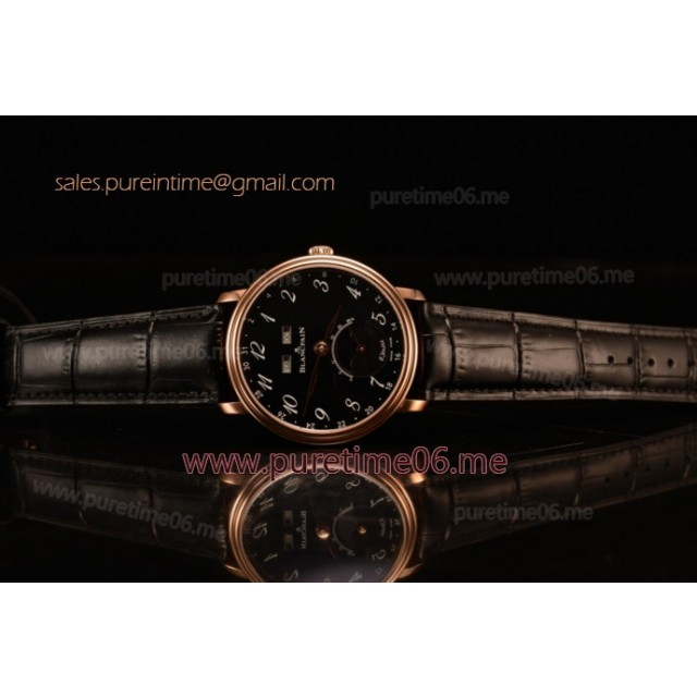 Villeret Miyota 9015 Automatic Rose Gold Case with Black Dial Arabic and Black Leather Strap (EF)