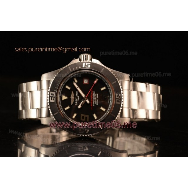 SuperOcean 44mm 2824 Auto Steel Case with Black Dial and Steel Bracelet Red Hands - 1:1 Origianl (GF)