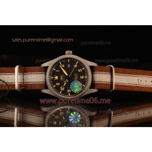 Pilot's Watch Mark XVIII Miyota 9015 Automatic Steel Case Black Dial With Arabic Numeral Markers Brown Nylon Strap