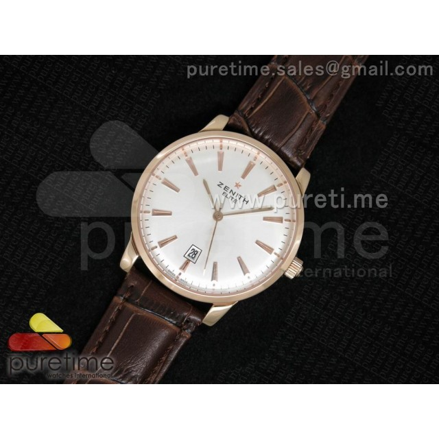 Cheap Discount Replica Elite Captain RG White Dial on Brown Leather Strap A2824